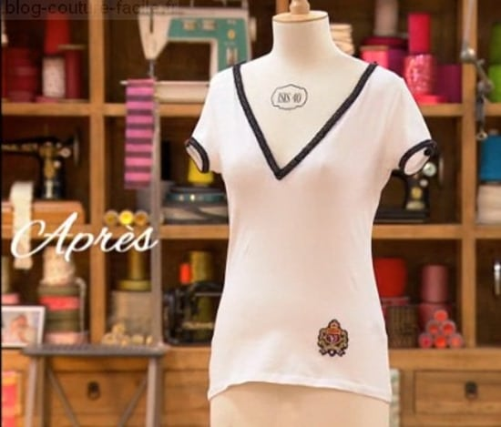M6 cousu main T shirt blanc customise Caroline devant