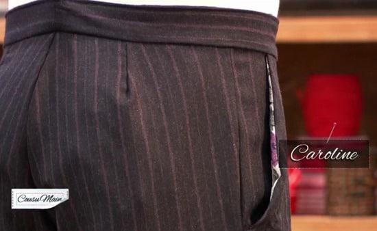 cousu main poche pantalon homme Caroline
