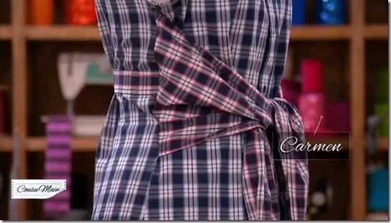 cousu main robe ceinture carmen