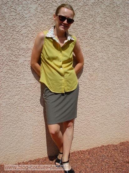 ensemble jupe droite et chemisier