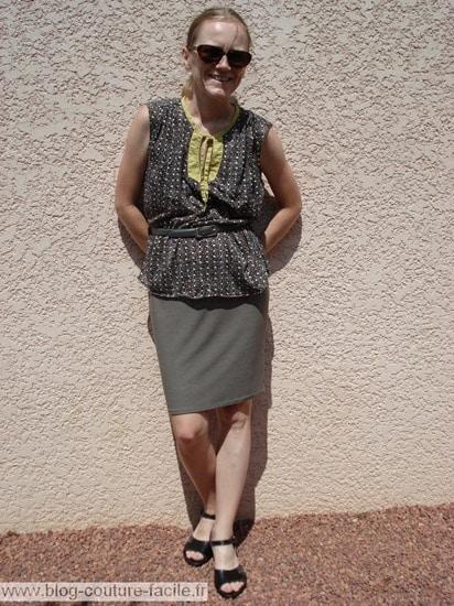 jupe droite blouse ottobre avec ceinture