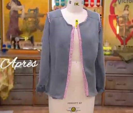 cousu main 2 customisation sweat veste perrine