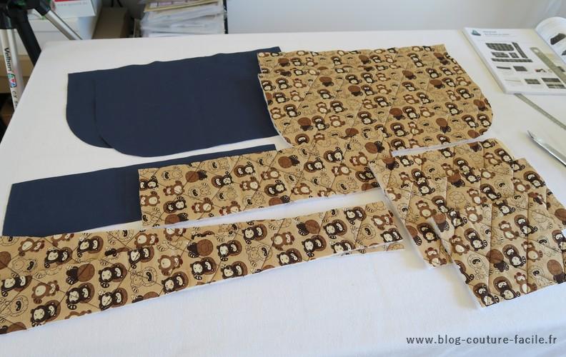pieces du sac decoupees