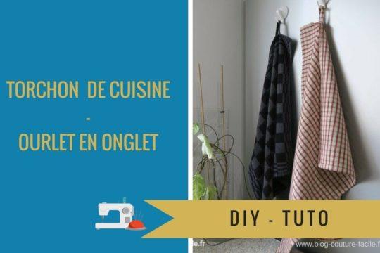 DIY tuto torchon de cuisine avec ourlet en onglet