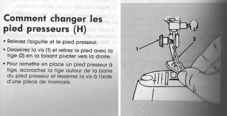 comment changer le pied presseur d'une machine singer