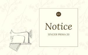 notice singer prima 20