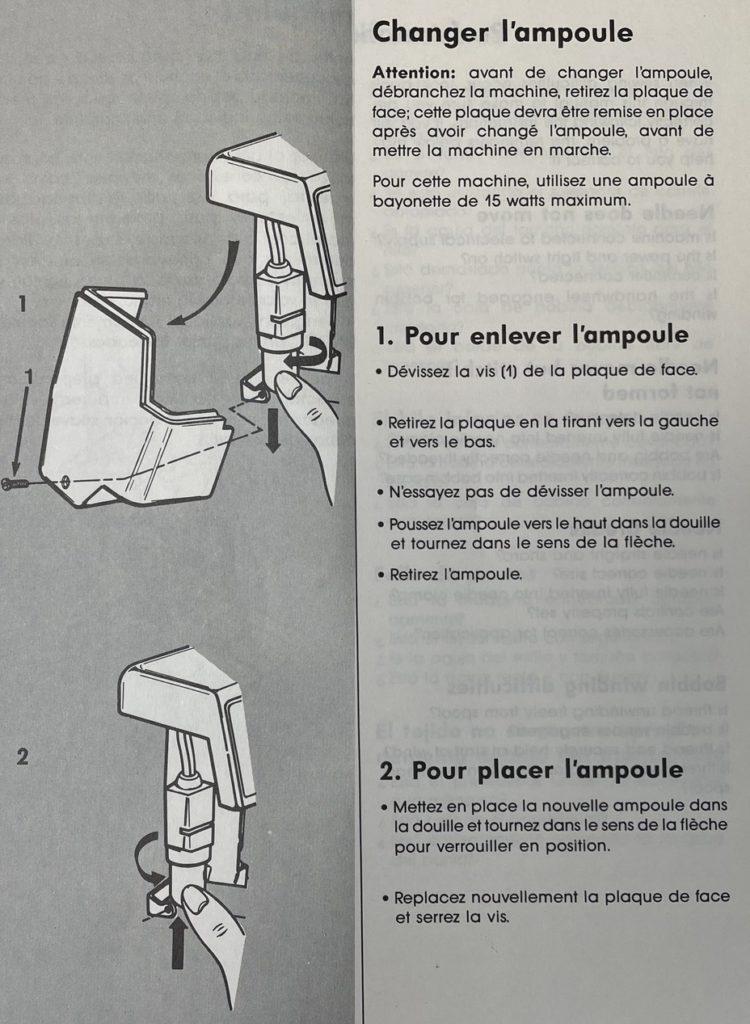comment changer l'ampoule de sa machine à coudre