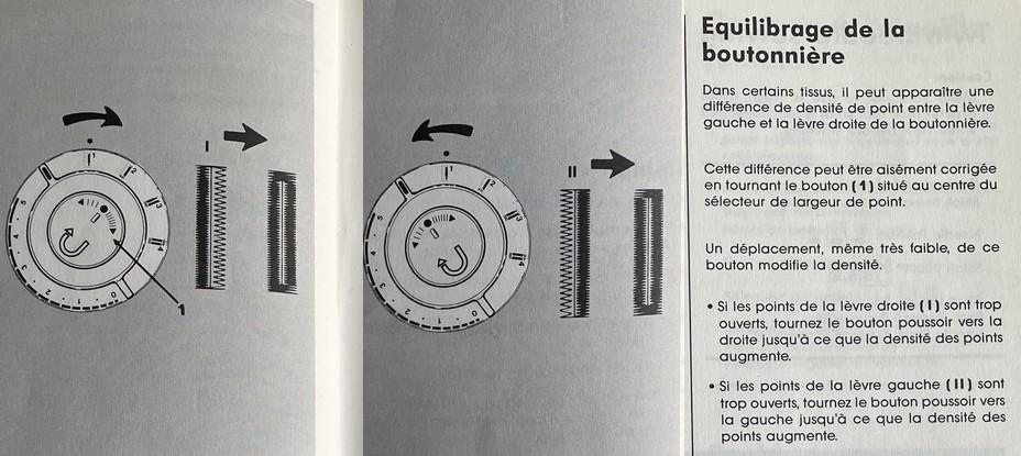 Equilibrage de la boutonnière