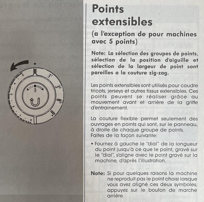 points extensibles sur machine à coudre