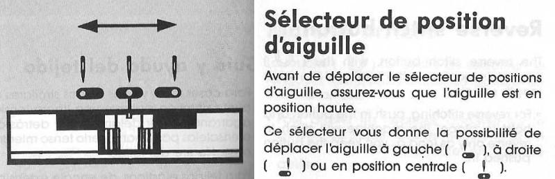 sélecteur de position d'aiguille sur machine à coudre