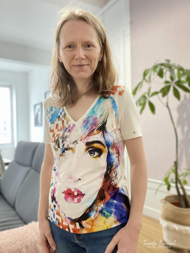T shirt femme avec col en v