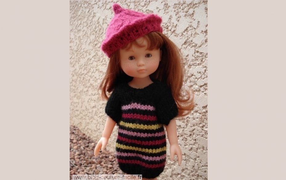 robe-beret-poupee-corolle-tricot